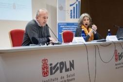 Iñaki Moreno Suescun, jefe del Servicio de Salud Laboral del ISPLN y María José López Jacob, directora de programas en I+3