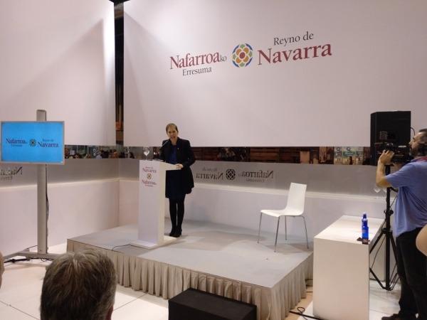 Un momento de la intervención de Uxue Barkos en el Día de Navarra de FITUR 2018.