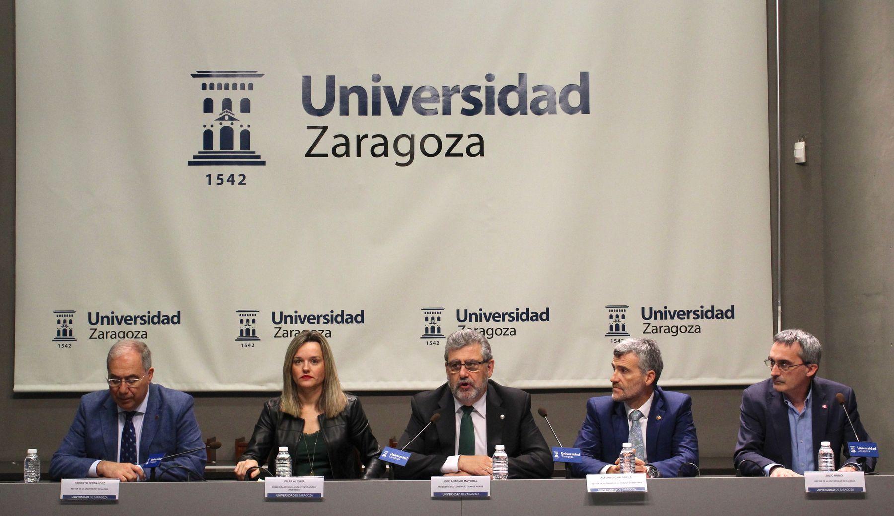 Los rectores de las cuatro universidades de Campus Iberus y la Consejera de Innovación, Investigación y Universidad del Gobierno de Aragón, Pilar Alegría, en la presentación del programa 'Iberus Talent'.