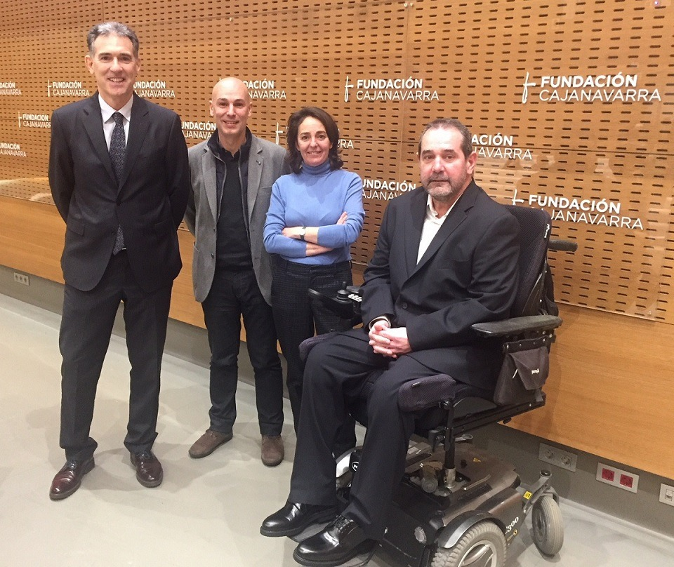 """De I a D: Óscar Insausti (Obra Social """"la Caixa""""), Miquel de Paladella (experto en innovación social), Carmen Pérez de Lema (gestora de Innovasocial) y Javier Miranda (Fundación Caja Navarra)."""