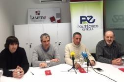 Representantes de Laseme, el politécnico de Estella y el Gobierno de Navarra durante la rueda de prensa.
