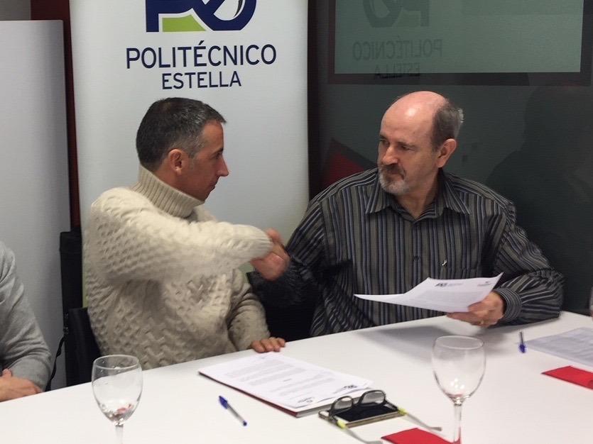 El presidente de LASEME, Guillermo Erice; y el director del CIP Politécnico de Estella, Antonio Diaz.