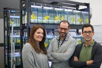 Iranzu Lamberto, Roberto Díez-Martínez y Rubén Díez Punzano, promotores de Ikan Biotech.