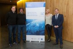 De I a D: Javier Ábrego (Tweet Binder), Roberto Aguirre (IAR Industrial Augmented Reality), Agustina Rodríguez (Protesalpic) y Sergio Pérez-García (Enterprise Europe Network-Universidad de Navarra), durante la StarUp Europe Week 2018 celebrada en la Universidad de Navarra.