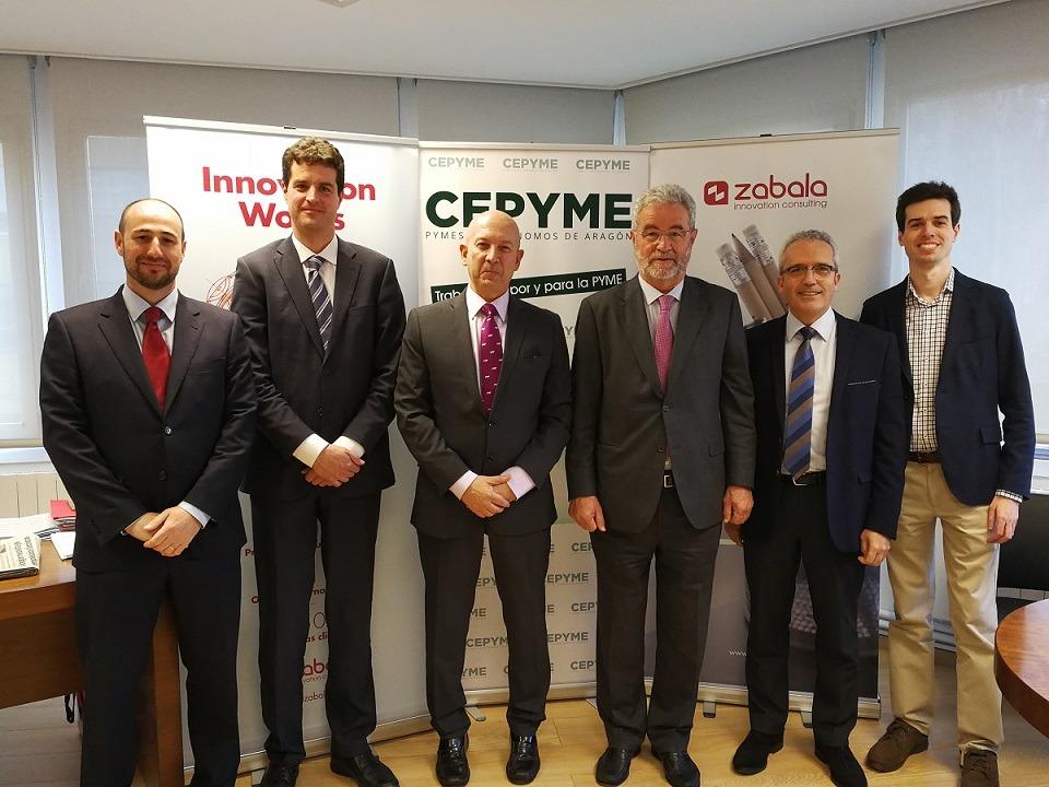 De I a D: Daniel Forniés (CEPYME Aragón); Erik Zabala; Carmelo Pérez (CEPYME Aragón); José María Zabala; Guillermo Arrizabalaga (CEPYME Aragón) y Rafael Urbiola.
