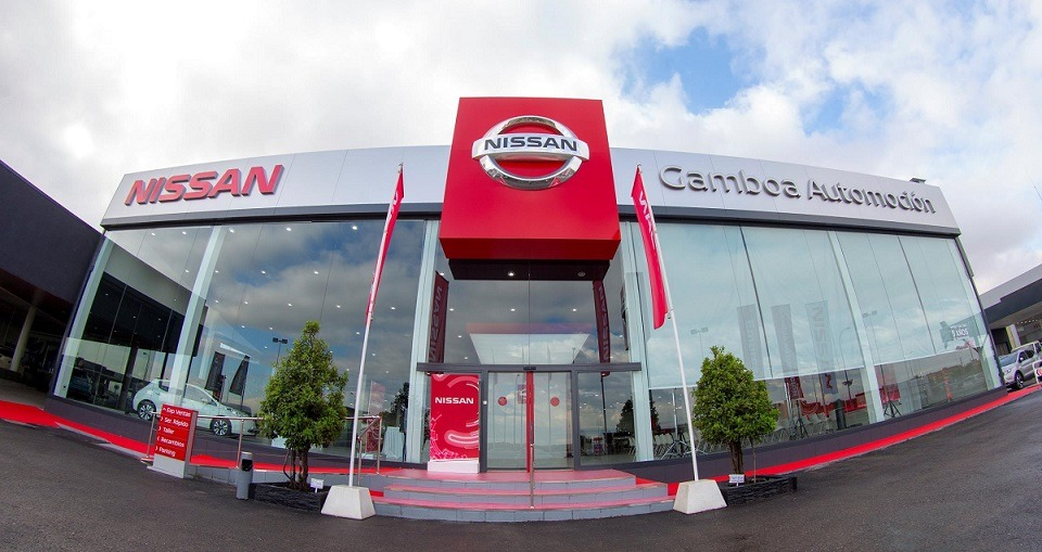 Ejemplo gráfico del nuevo 'Retail Concept' que Nissan quiere implantar en sus 9.000 concesionarios, uno de ellos el de Tudela este 10 de mayo.