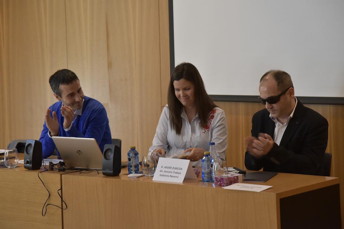Javier Aguirre, Coval Consultores; Cristina Patier, Mutua Navarra; y Luis Casado, Fundación Iddeas.