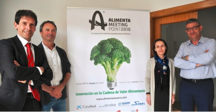 De I a D: Enekoitz Duarte (PMM); Juan Manuel Intxaurrandieta (INTIA); Estefanía Erro (CNTA) y José Ignacio Calleja (Consebro)