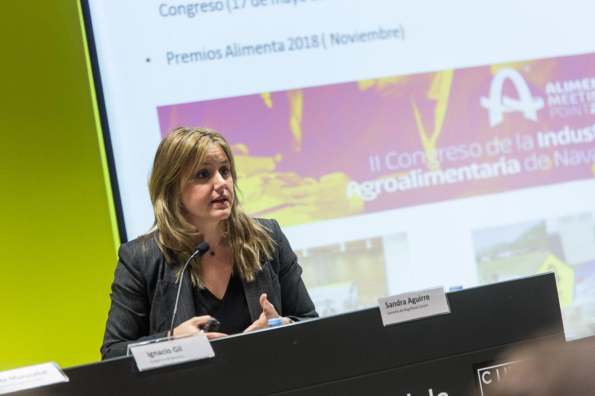 Sandra Aguirre, gerente de la Asociación Cluster Agroalimentario de Navarra-Nagrifood. (Fotos: VICTOR RODRÍGO)