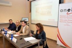 Mesa de trabajo de la directora gerente del Servicio Navarro de Empleo, Paz Fernández, con los responsables de ANEL para informar sobre las últimas novedades y servicios que ofrece su entidad.