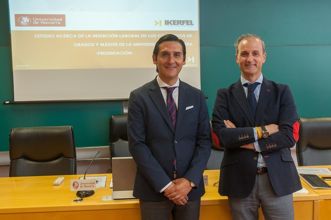 Roberto Cabezas, director de Career Services, y Txema Irasuegi, director de cuentas de Ikerfel