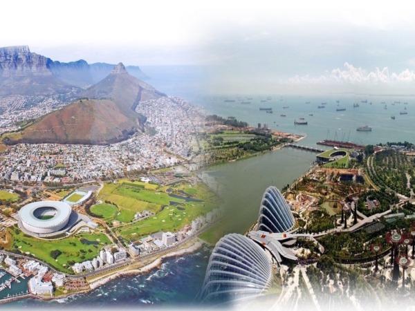 """Fotomontaje con imágenes aéreas de Sudáfrica (izq.) y Singapur (dcha.), dos """"exóticas"""" zonas con muchas oportunidades de negocio en las que CaixaBank tienen Oficinas de Representación y acuerdos con bancos locales."""