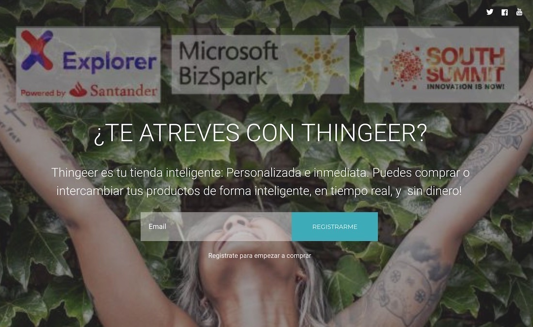 Captura de pantalla de la web de la app Thingeer.