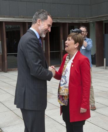 Llegada a Baluarte de Felipe VI recibido por la Presidenta Barkos.