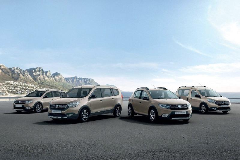 Foto de familia de los modelos Dacia actualmente en el mercado.