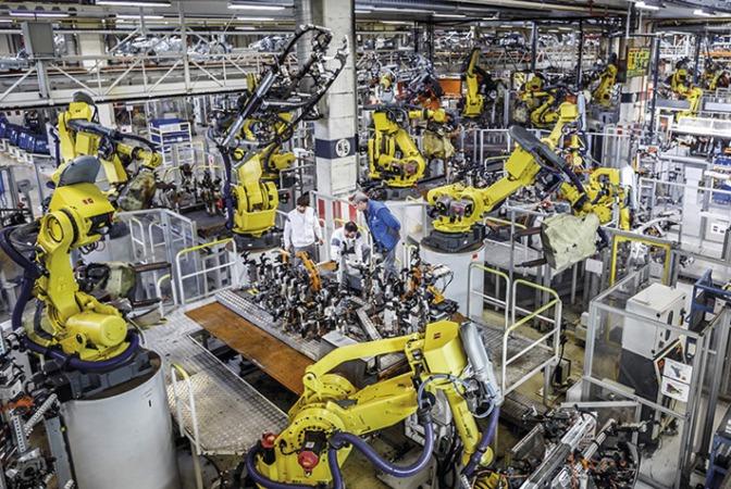 Imagen de la sección de chapa de la factoría de VW Navarra.
