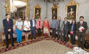 Componentes de la delegación india con los responsables navarros.