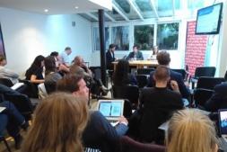 Detalle de la sesión celebrada por la red Vanguard en la sede de Navarra en Bruselas