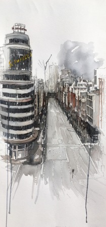 La obra de Iñaki Pardos representa el tema urbano.