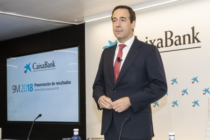 Imagen de Gonzalo Gortázar, consejero delegado de CaixaBank, durante la presentación esta mañana de los resultados del tercer trimestre de la entidad financiera.