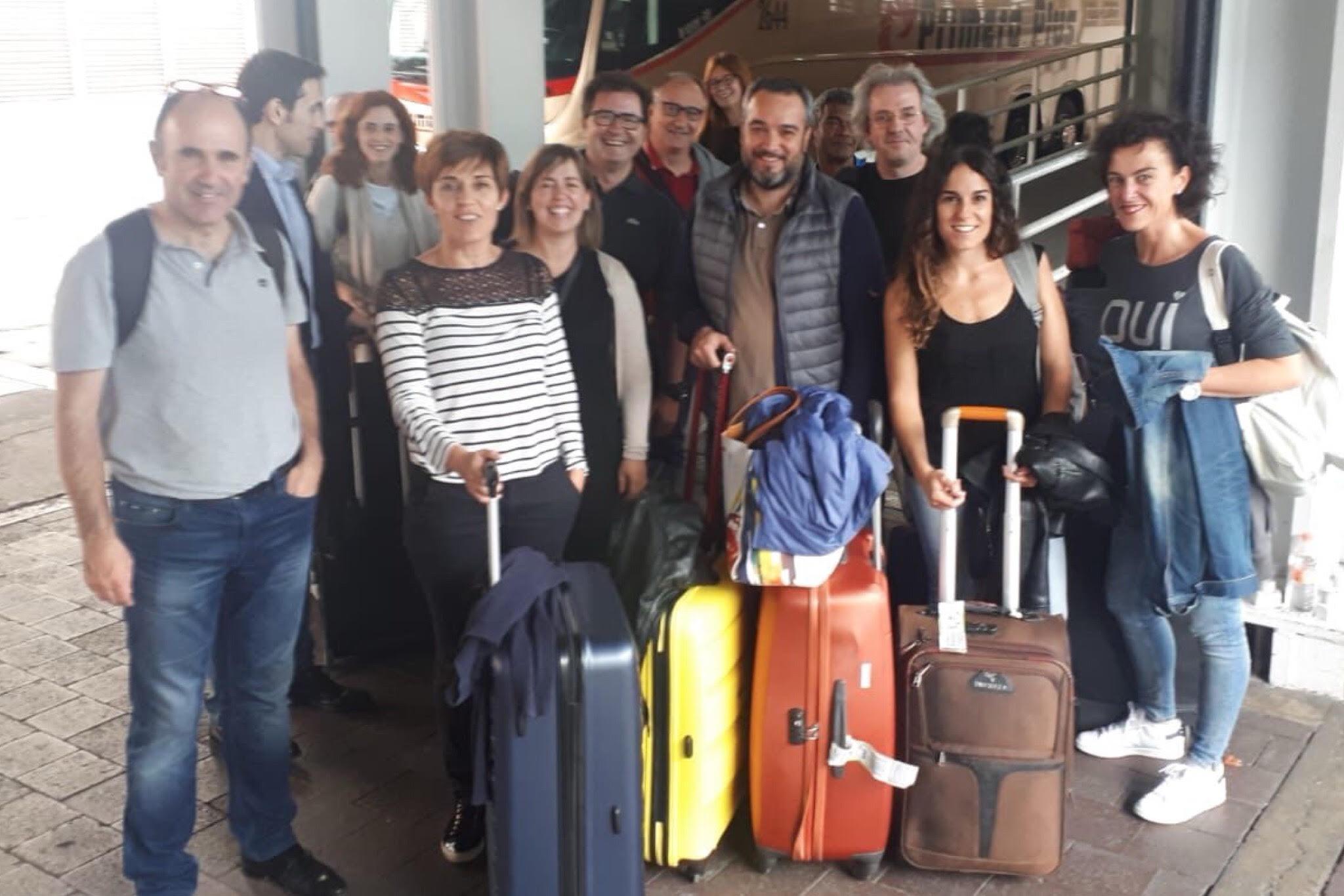 La delegación navarra, recién llegada a México.