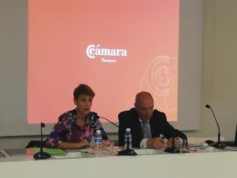María Chivite, Secretaria General del PSN-PSOE, y Javier Taberna, Presidente de la Cámara de Comercio de Navarra