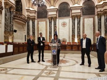 Pilar Irigoien, directora gerente de Sodena en la recepción ofrecida por el ayuntamiento de San Sebastián el pasado 16 de octubre junto al resto de organizadores del evento.