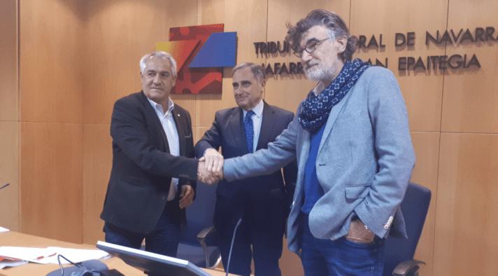 Jesús Santos de UGT; José Antonio Sarría de CEN y Chechu Rodríguez, CCOO