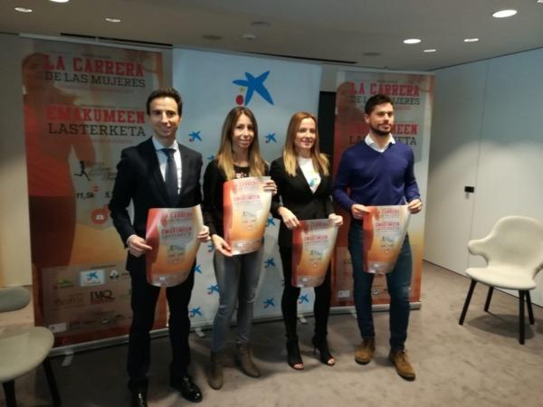 Foto de familia de los patrocinadores durante la presentación de la tercera edición de la Carrera de las Mujeres correspondiente a este año.