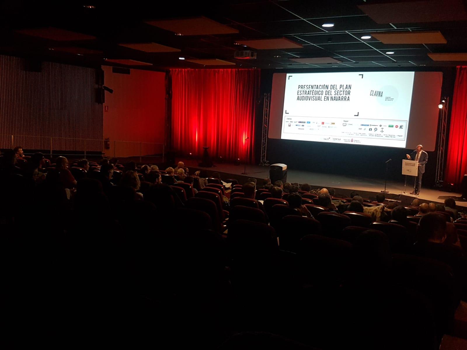 Momento de la presentación del Plan Estratégico de la Industria Audiovisual de Navarra en la Filmoteca. (FOTO: Eduardo Sanz)