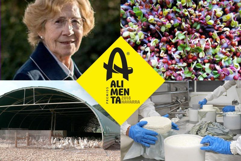 Fotomontaje de los galardonados con los 'Premios Alimenta Navarra 2018'