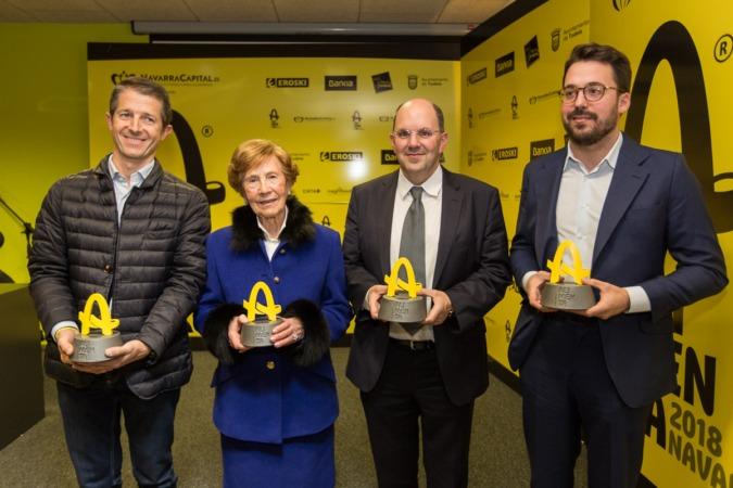 Galardonados con los Premios Alimenta Navarra 2018. De izda. a dcha., Mikel Martiarena (Gatandegi Dorrea); Antonia Sáinz (Viuda de Cayo); Joseba Martikorena (Martiko) y; Gonzalo Agorreta (Brotalia).