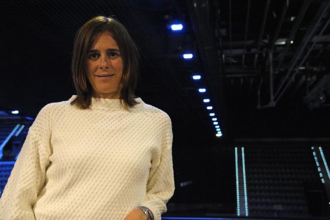 Edurne Pasaban, fotografiada en el Pabellón Navarra Arena.
