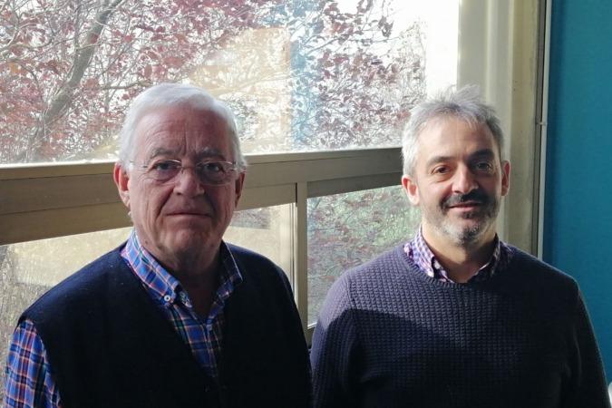 Los investigadores de la UPNA implicados en este proyecto. Julio Muro (izq.) e Inazio Irigoien.