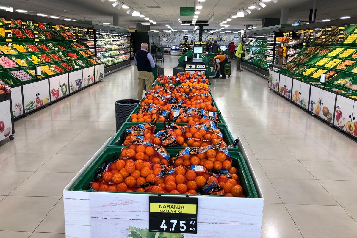 La sección de fruta y verdura del supermercado Mercadona del Valle de Egüés.