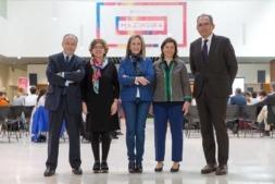Alberto Andreu, Rosa Jaso (moderadora), Izaskun Goñi, María Mendiluce y Ricardo Llatser, ponentes de la I Jornada de Sostenibilidad en la Empresa de la Universidad de Navarra.