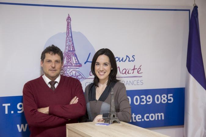 Alberto Cebrián y Maite Lázcoz, al frente de Francés Oui.  FOTO: Ana Osés.
