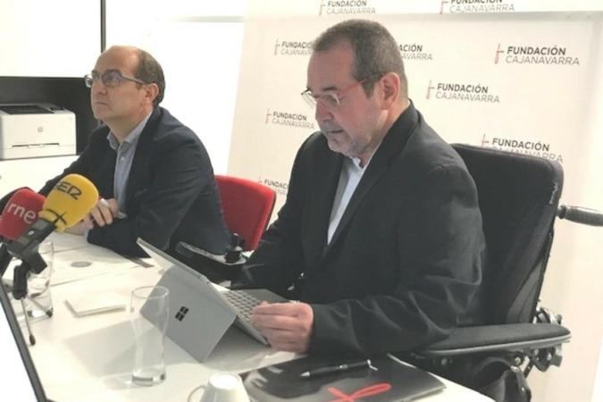 Javier Fernández y Javier Miranda, director general y presidente, respectivamente, de la Fundación Caja Navarra.