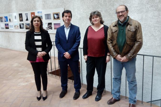 De izquierda a derecha, Cecilia Wolluschek, directora de Proyectos Enercluster, el delegado del Gobierno en Bruselas, Mikel Irujo; la directora general de Medio Ambiente, Eva García Balaguer y el gerente de Enercluster, Manuel Rodríguez.