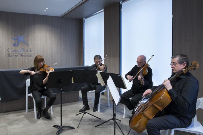 Cuarteto de cuerda de la Orquesta Sinfónica de Navarra que ha amenizado el acto.