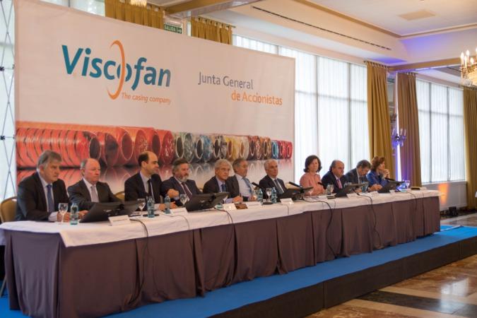 La presidencia de la junta de accionistas de Viscofan celebrada hoy en Pamplona.