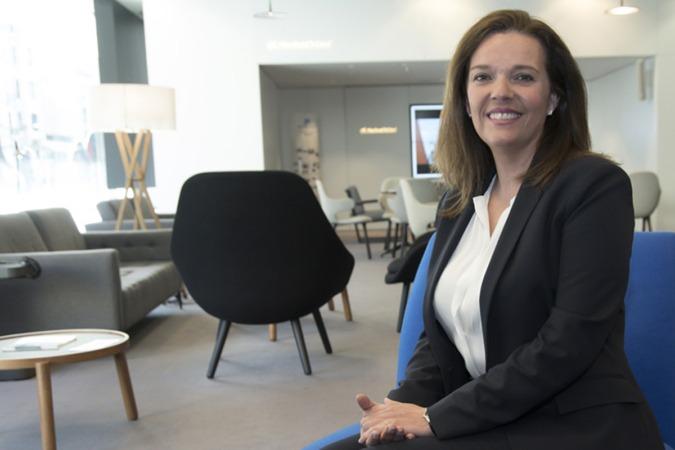 Ana Díaz Fontana, fotografiada en la sede central de CaixaBank en Pamplona.