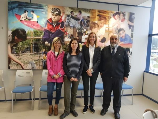 Sandra Aguirre, responsable de comunicación; Camino Ostériz, directora de la plana de Ecointegra de Aoiz; Blanca Elizalde, directora de la Fundación Aspace para el Empleo, y Rafael Olleta, director general de Aspace Navarra.