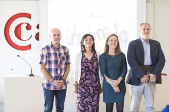 Enrique Huarte, Lola Urrutia, Eva Fontecha y Jesús Ríos en la clausura del curso.