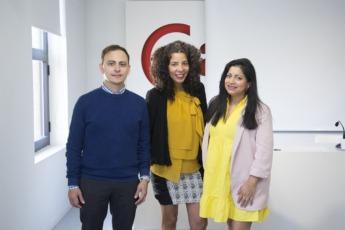 Camilo Ríos, Cecilia Guija y Camilo Ríos, tres de los emprendedores inmigrantes que han participado en entryway.