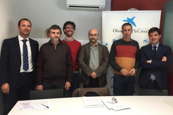 Eduardo Lara, CaixaBank; Ángel Marco, Dictel; Josu Suescun, Dictel; Jesús Pérez Conde, Dictel;  Guillermo Erice, Laseme; y Luis Pegenaute, CaixaBank.