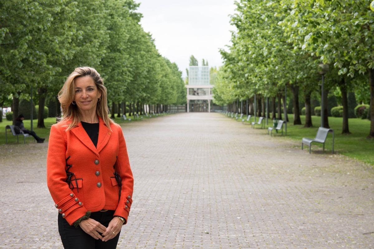 María José Beriáin, candidata a rectora de la UPNA, en el campus de la Universidad.