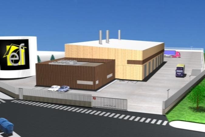Maqueta de la Central de Calor de Biomasa que se va a construir.