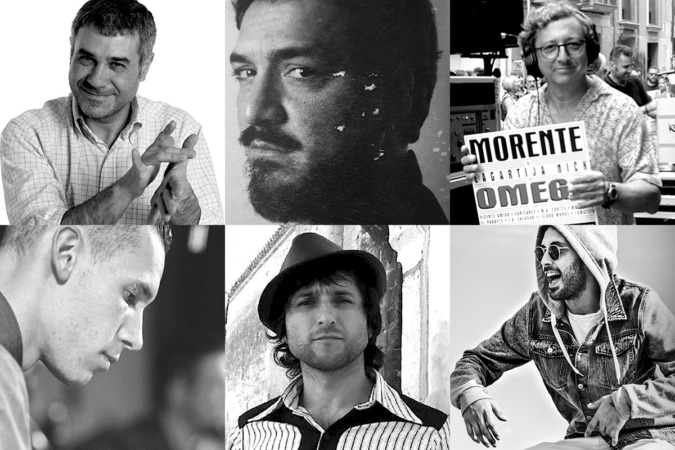 Algunos DJs de la Jam Flamenca 2019. De izda. a dcha.: (arriba) Teo Sánchez, Monty, Go&Go; (abajo) Féliz Estevez, Curro Velázquez Gaztelu, Popo.