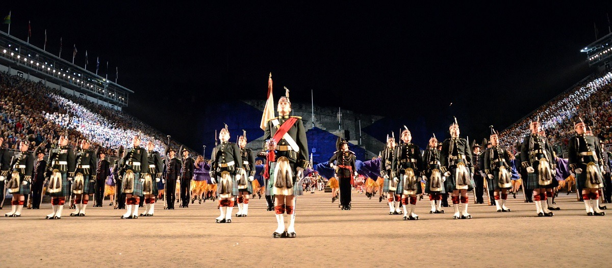 International musicians and performers perform a tribute to Scotland during the Royal Edinburgh Military Tattoo Aug. 3, 2012, in Edinburgh, Scotland. The military tattoo brought together musicians, dancers and bagpipers from around the world. This year marked the first time a U.S. Navy band performed in the show. (U.S. Navy photo by Mass Communication Specialist 2nd Class Patrick Grieco/Released)